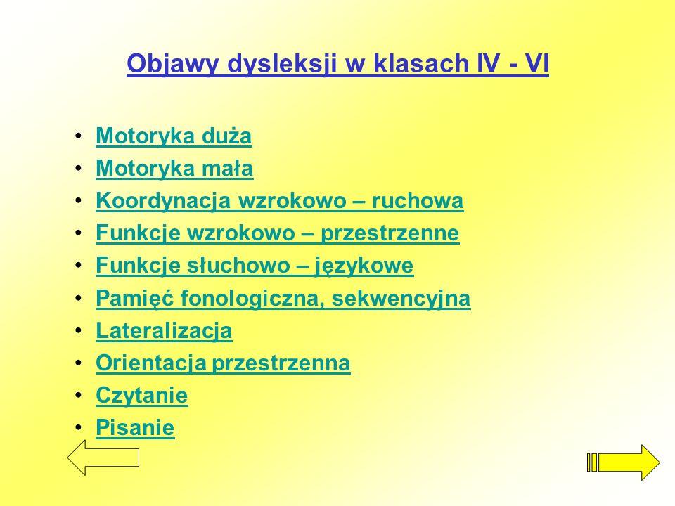 Objawy dysleksji w klasach IV - VI Motoryka duża Motoryka mała Koordynacja wzrokowo – ruchowa Funkcje wzrokowo – przestrzenne Funkcje słuchowo – język