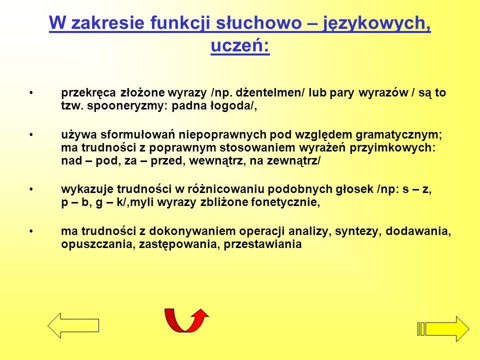 W zakresie funkcji słuchowo – językowych, uczeń: przekręca złożone wyrazy /np. dżentelmen/ lub pary wyrazów / są to tzw. spooneryzmy: padna łogoda/, u