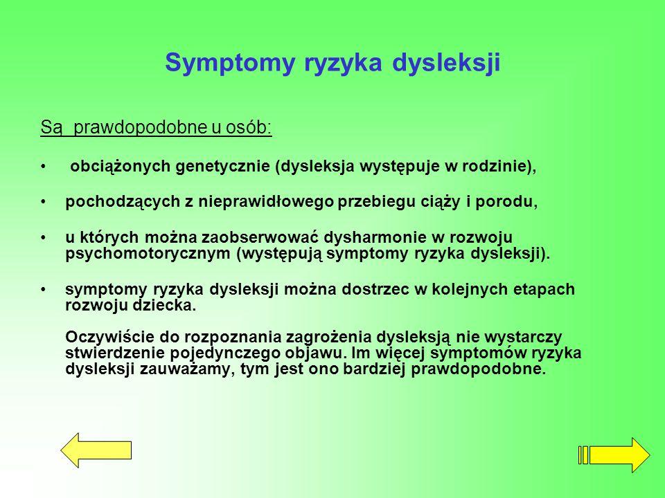 Symptomy ryzyka dysleksji Są prawdopodobne u osób: obciążonych genetycznie (dysleksja występuje w rodzinie), pochodzących z nieprawidłowego przebiegu