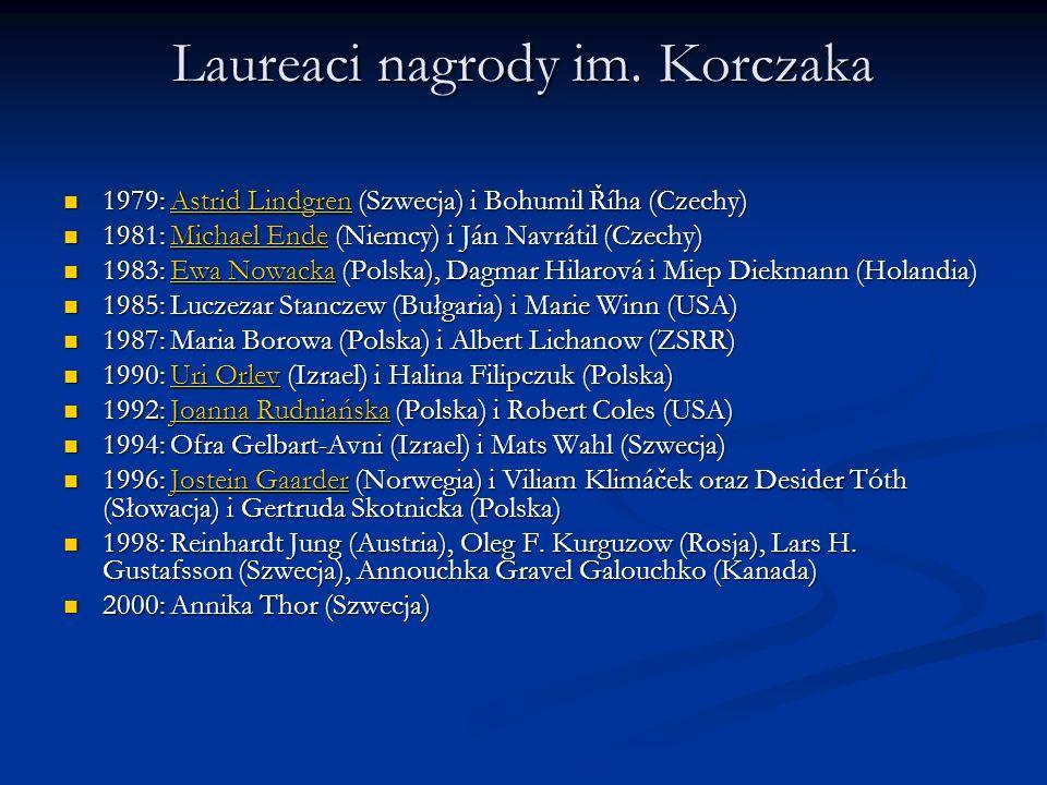 Laureaci nagrody im. Korczaka 1979: Astrid Lindgren (Szwecja) i Bohumil Říha (Czechy) 1979: Astrid Lindgren (Szwecja) i Bohumil Říha (Czechy)Astrid Li