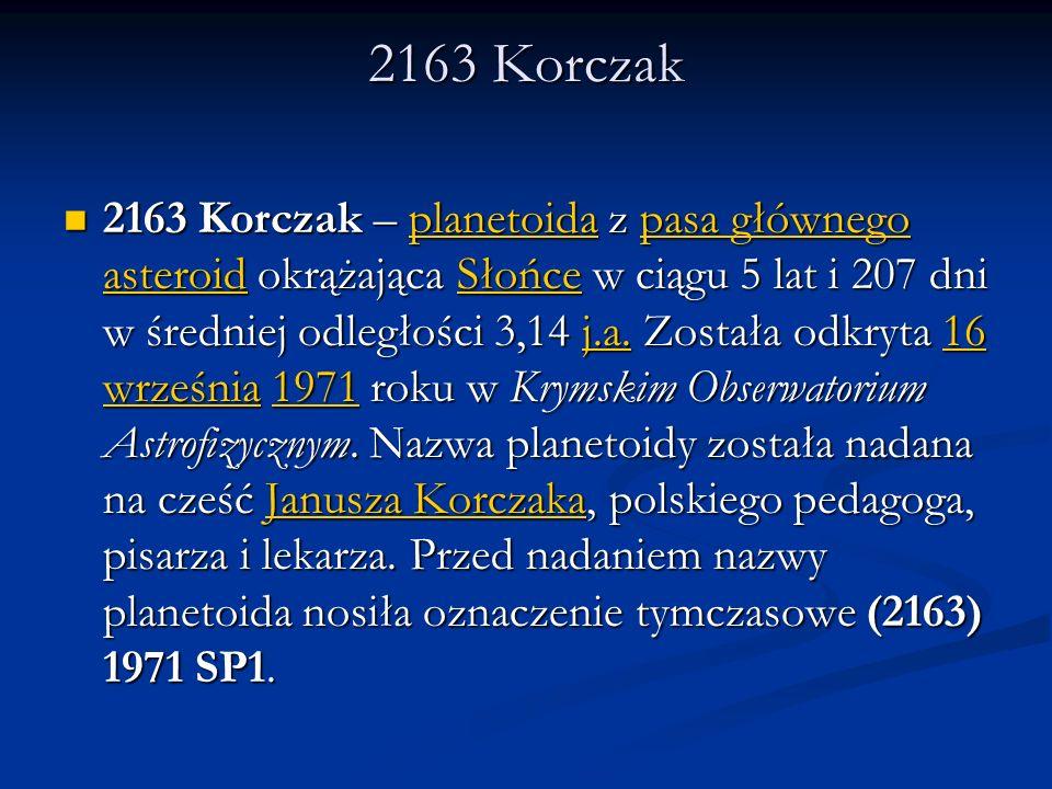 2163 Korczak 2163 Korczak – planetoida z pasa głównego asteroid okrążająca Słońce w ciągu 5 lat i 207 dni w średniej odległości 3,14 j.a. Została odkr