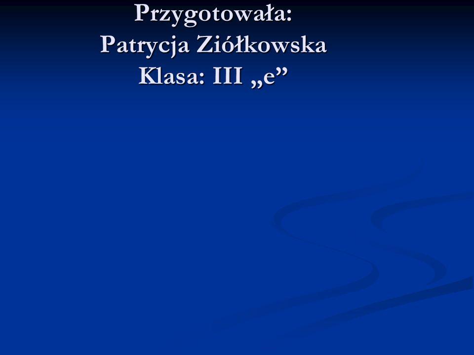 Przygotowała: Patrycja Ziółkowska Klasa: III e
