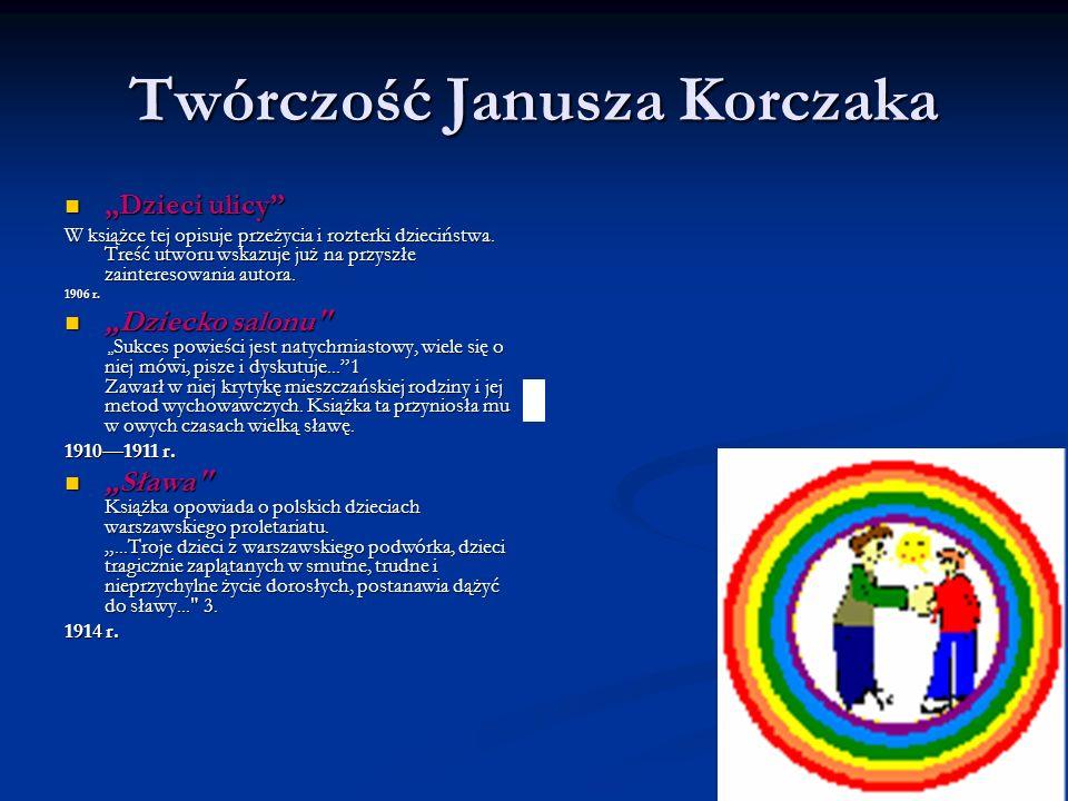 Twórczość Janusza Korczaka Dzieci ulicy Dzieci ulicy W książce tej opisuje przeżycia i rozterki dzieciństwa. Treść utworu wskazuje już na przyszłe zai