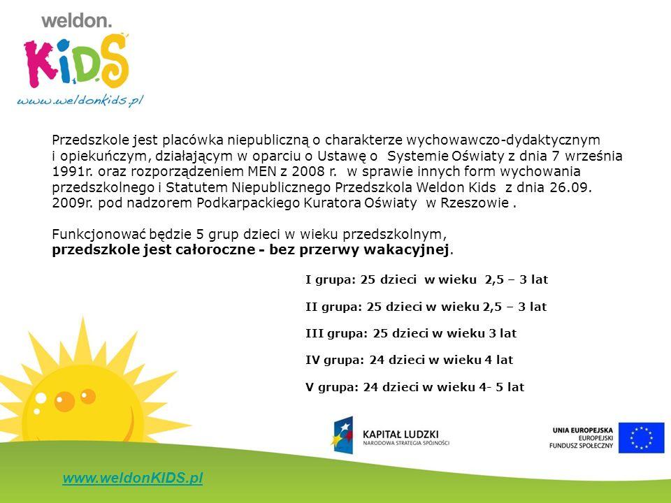 www.weldonKIDS.pl Przedszkole jest placówka niepubliczną o charakterze wychowawczo-dydaktycznym i opiekuńczym, działającym w oparciu o Ustawę o System