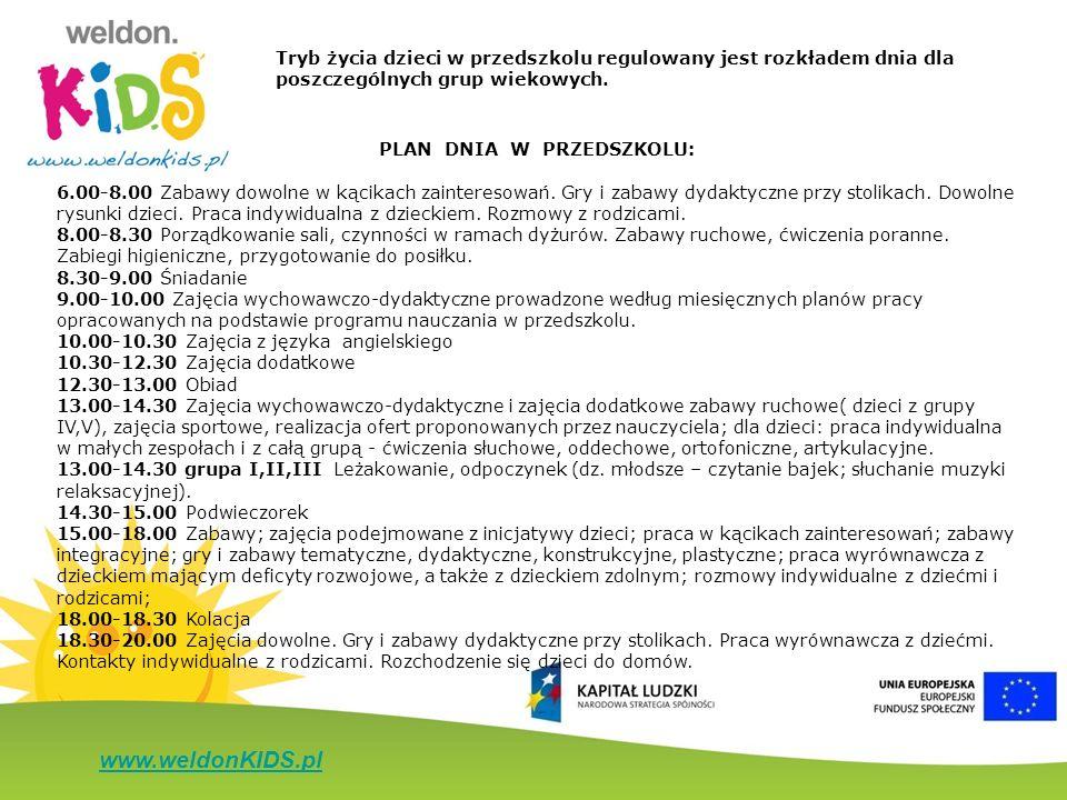 www.weldonKIDS.pl PLAN DNIA W PRZEDSZKOLU: 6.00-8.00 Zabawy dowolne w kącikach zainteresowań. Gry i zabawy dydaktyczne przy stolikach. Dowolne rysunki