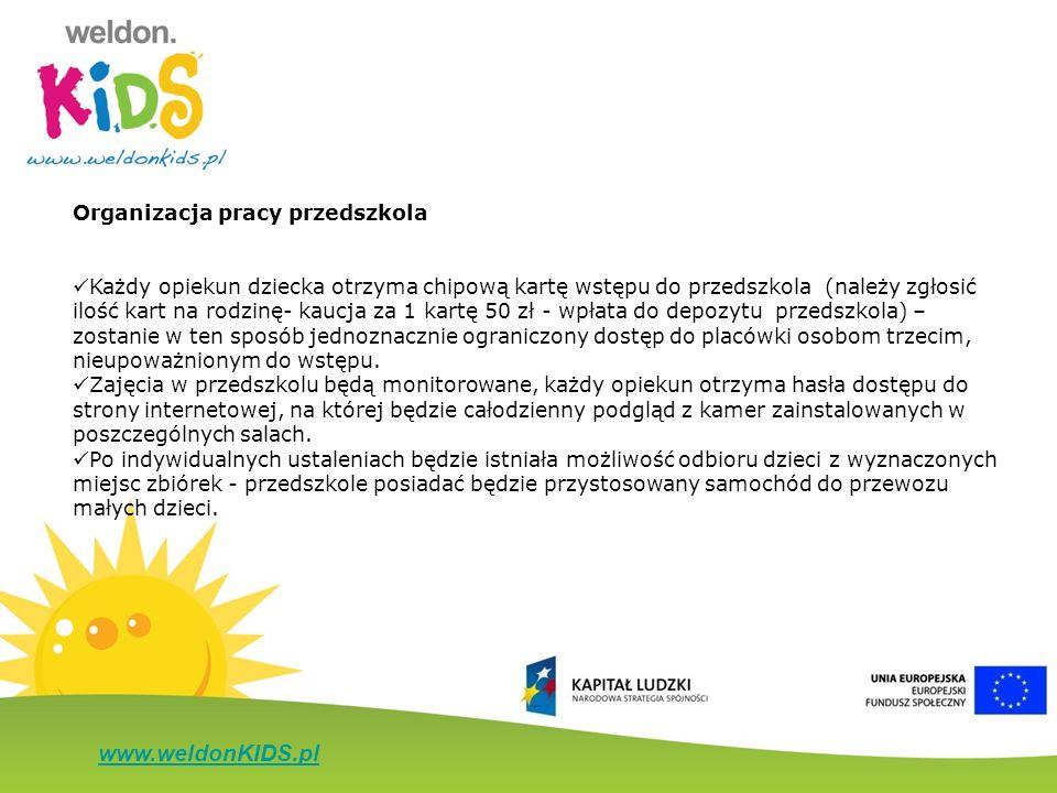www.weldonKIDS.pl Organizacja pracy przedszkola Każdy opiekun dziecka otrzyma chipową kartę wstępu do przedszkola (należy zgłosić ilość kart na rodzin