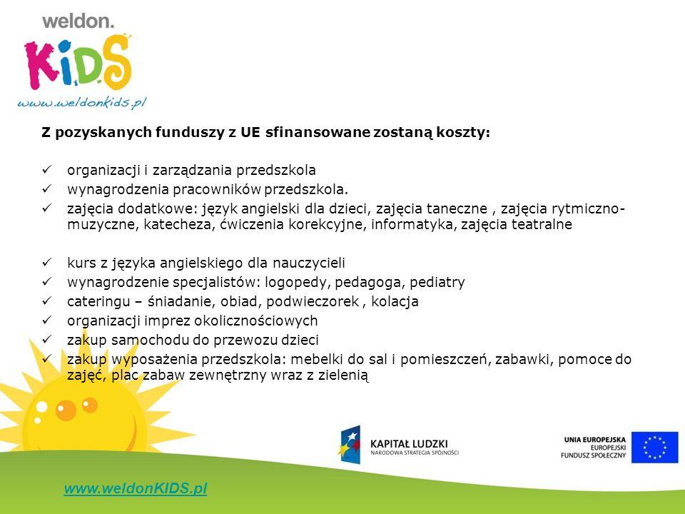 www.weldonKIDS.pl Z pozyskanych funduszy z UE sfinansowane zostaną koszty: organizacji i zarządzania przedszkola wynagrodzenia pracowników przedszkola