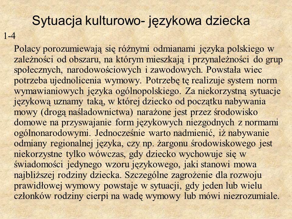 Sytuacja kulturowo- językowa dziecka 1-4 Polacy porozumiewają się różnymi odmianami języka polskiego w zależności od obszaru, na którym mieszkają i pr