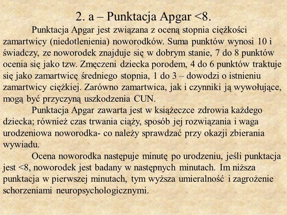 2. a – Punktacja Apgar <8. Punktacja Apgar jest związana z oceną stopnia ciężkości zamartwicy (niedotlenienia) noworodków. Suma punktów wynosi 10 i św