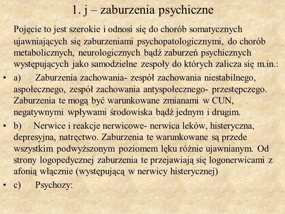 1. j – zaburzenia psychiczne Pojęcie to jest szerokie i odnosi się do chorób somatycznych ujawniających się zaburzeniami psychopatologicznymi, do chor