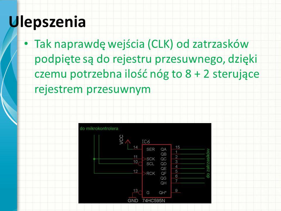Ulepszenia Tak naprawdę wejścia (CLK) od zatrzasków podpięte są do rejestru przesuwnego, dzięki czemu potrzebna ilość nóg to 8 + 2 sterujące rejestrem