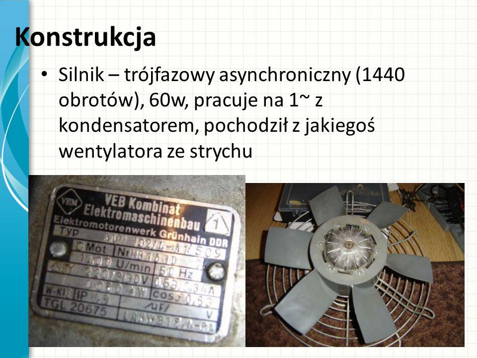 Konstrukcja Silnik – trójfazowy asynchroniczny (1440 obrotów), 60w, pracuje na 1~ z kondensatorem, pochodził z jakiegoś wentylatora ze strychu