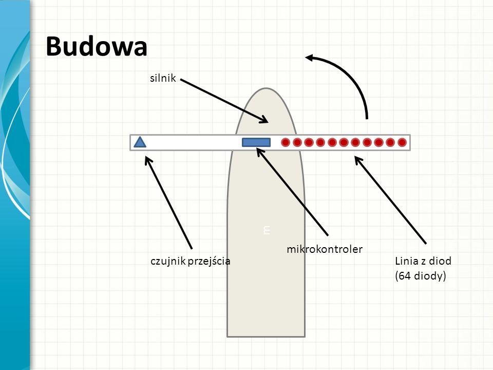 m Budowa Linia z diod (64 diody) mikrokontroler czujnik przejścia silnik