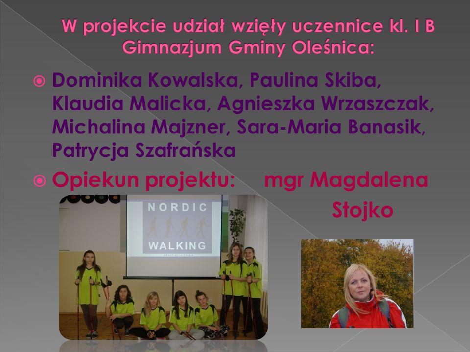 Dominika Kowalska, Paulina Skiba, Klaudia Malicka, Agnieszka Wrzaszczak, Michalina Majzner, Sara-Maria Banasik, Patrycja Szafrańska Opiekun projektu:
