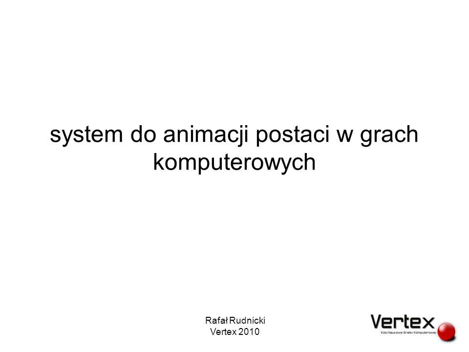 plan prezentacji ważne pytania cele systemu animacji obliczanie klatki interpolacja graf animacji zapętlanie animacji przejścia wyzwalacze wdrażanie animacji i przykładowe rozwiązanie Rafał Rudnicki Vertex 2010