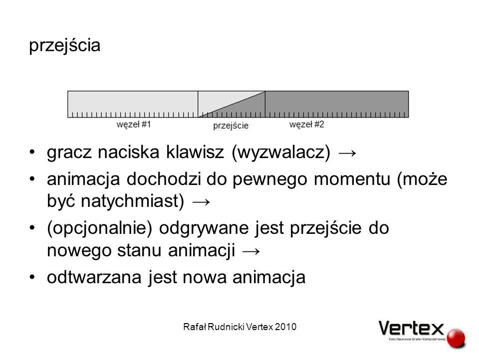 przejścia gracz naciska klawisz (wyzwalacz) animacja dochodzi do pewnego momentu (może być natychmiast) (opcjonalnie) odgrywane jest przejście do nowego stanu animacji odtwarzana jest nowa animacja Rafał Rudnicki Vertex 2010