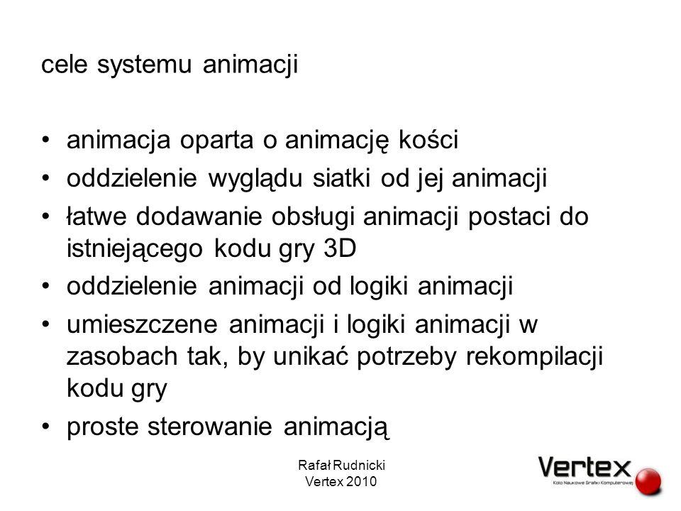 cele systemu animacji (2) płynna animacja (maksymalne) wykorzystanie GPU Rafał Rudnicki Vertex 2010