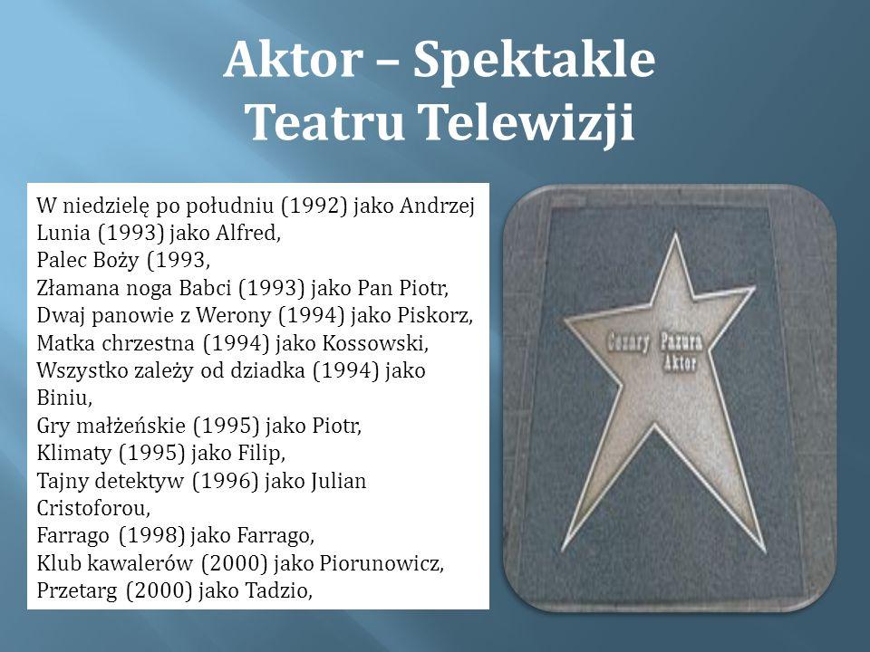 Aktor – Spektakle Teatru Telewizji W niedzielę po południu (1992) jako Andrzej Lunia (1993) jako Alfred, Palec Boży (1993, Złamana noga Babci (1993) jako Pan Piotr, Dwaj panowie z Werony (1994) jako Piskorz, Matka chrzestna (1994) jako Kossowski, Wszystko zależy od dziadka (1994) jako Biniu, Gry małżeńskie (1995) jako Piotr, Klimaty (1995) jako Filip, Tajny detektyw (1996) jako Julian Cristoforou, Farrago (1998) jako Farrago, Klub kawalerów (2000) jako Piorunowicz, Przetarg (2000) jako Tadzio,