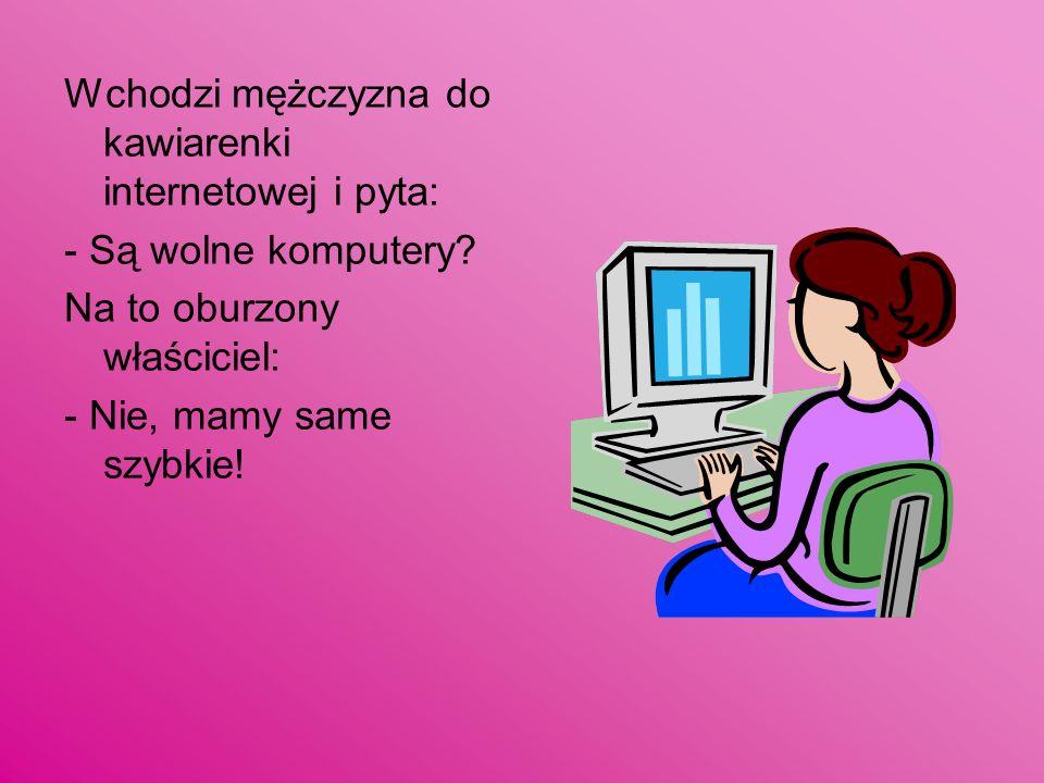 Wchodzi mężczyzna do kawiarenki internetowej i pyta: - Są wolne komputery? Na to oburzony właściciel: - Nie, mamy same szybkie!