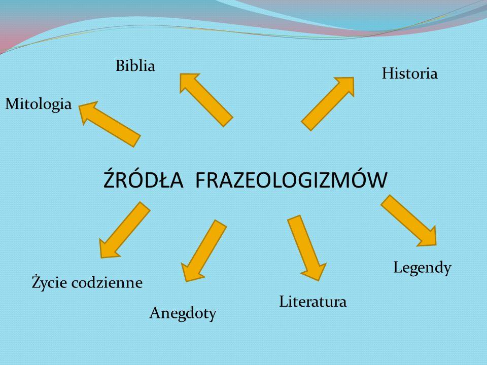 ŹRÓDŁA FRAZEOLOGIZMÓW Mitologia Biblia Historia Legendy Literatura Anegdoty Życie codzienne