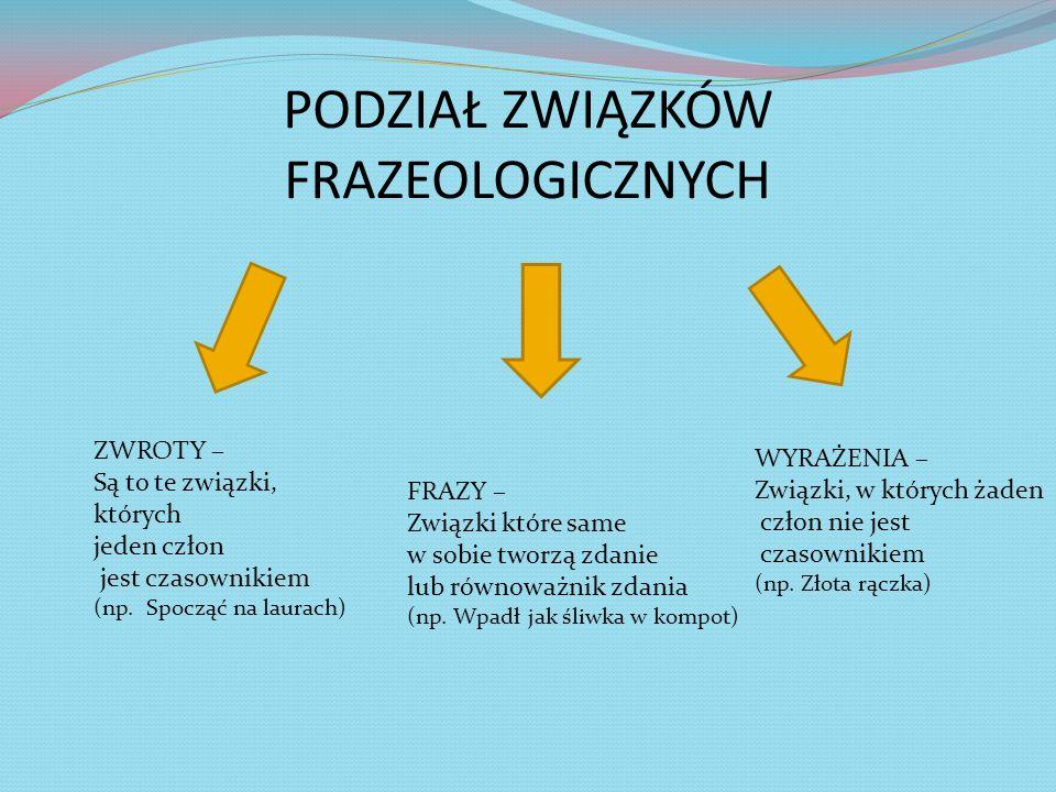 PODZIAŁ ZWIĄZKÓW FRAZEOLOGICZNYCH ZWROTY – Są to te związki, których jeden człon jest czasownikiem (np. Spocząć na laurach) FRAZY – Związki które same