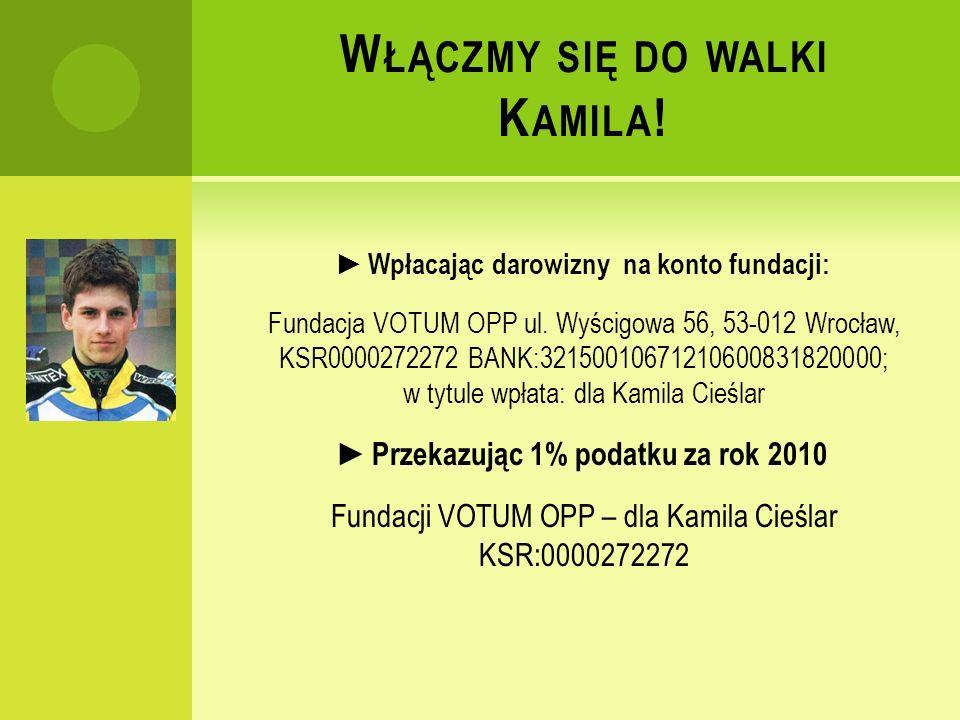 W ŁĄCZMY SIĘ DO WALKI K AMILA . Wpłacając darowizny na konto fundacji: Fundacja VOTUM OPP ul.
