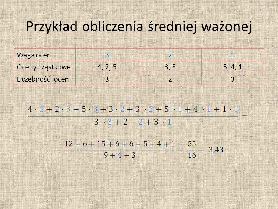 Przykład obliczenia średniej ważonej Waga ocen321 Oceny cząstkowe4, 2, 53, 35, 4, 1 Liczebność ocen323