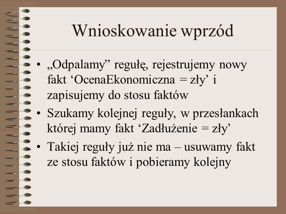 Wnioskowanie wprzód Odpalamy regułę, rejestrujemy nowy fakt OcenaEkonomiczna = zły i zapisujemy do stosu faktów Szukamy kolejnej reguły, w przesłankach której mamy fakt Zadłużenie = zły Takiej reguły już nie ma – usuwamy fakt ze stosu faktów i pobieramy kolejny