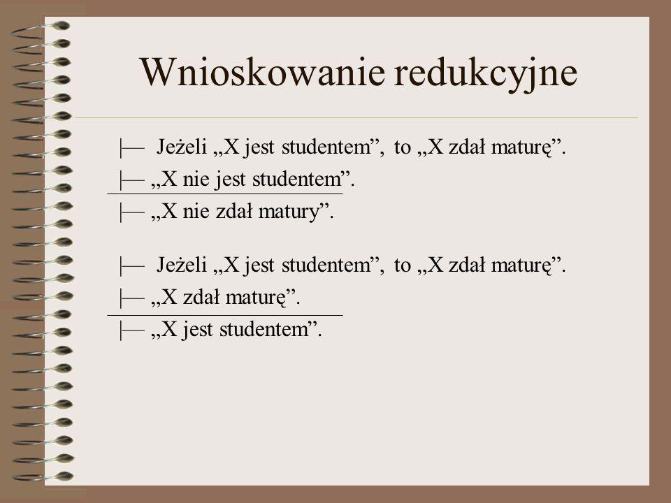 Wnioskowanie redukcyjne   Jeżeli X jest studentem, to X zdał maturę.
