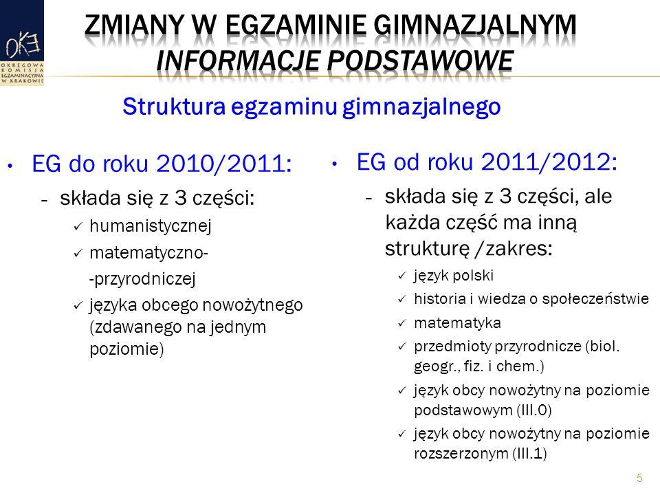EG do roku 2010/2011: – składa się z 3 części: humanistycznej matematyczno- -przyrodniczej języka obcego nowożytnego (zdawanego na jednym poziomie) EG