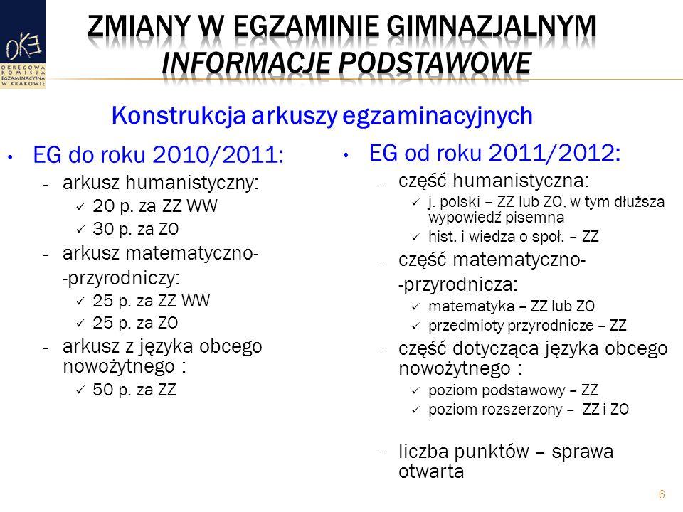EG do roku 2010/2011: – arkusz humanistyczny: 20 p. za ZZ WW 3 0 p. za ZO – arkusz matematyczno- -przyrodniczy: 25 p. za ZZ WW 25 p. za ZO – arkusz z
