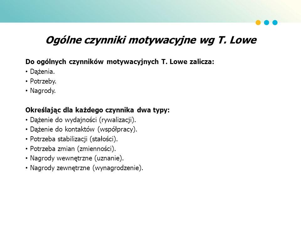 Ogólne czynniki motywacyjne wg T. Lowe Do ogólnych czynników motywacyjnych T. Lowe zalicza: Dążenia. Potrzeby. Nagrody. Określając dla każdego czynnik