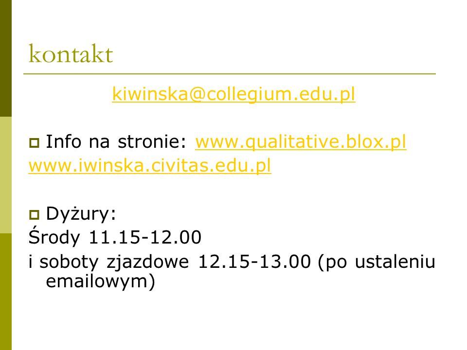 kontakt kiwinska@collegium.edu.pl Info na stronie: www.qualitative.blox.plwww.qualitative.blox.pl www.iwinska.civitas.edu.pl Dyżury: Środy 11.15-12.00