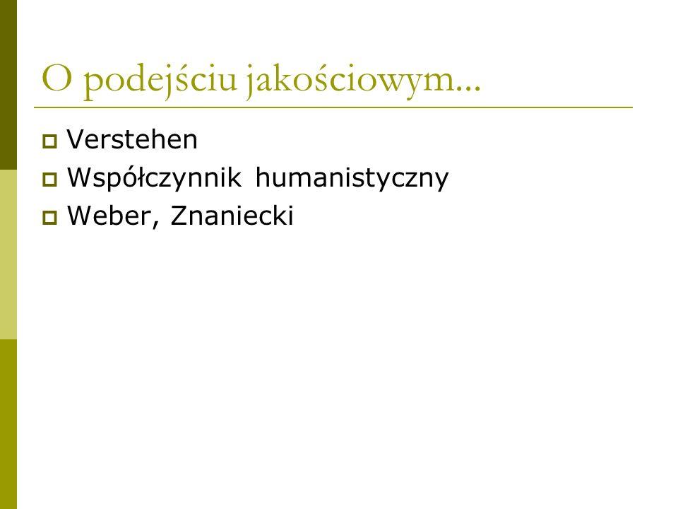 O podejściu jakościowym... Verstehen Współczynnik humanistyczny Weber, Znaniecki