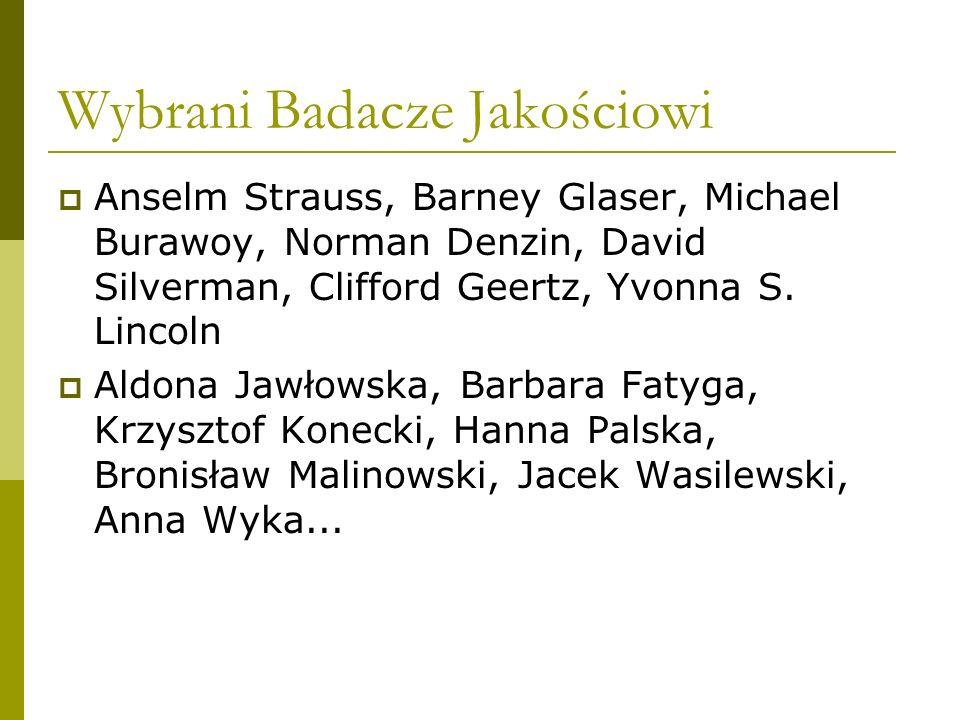 Wybrani Badacze Jakościowi Anselm Strauss, Barney Glaser, Michael Burawoy, Norman Denzin, David Silverman, Clifford Geertz, Yvonna S. Lincoln Aldona J