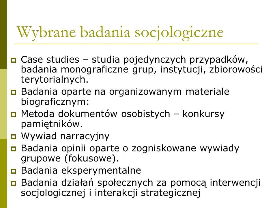 Wybrane badania socjologiczne Case studies – studia pojedynczych przypadków, badania monograficzne grup, instytucji, zbiorowości terytorialnych. Badan