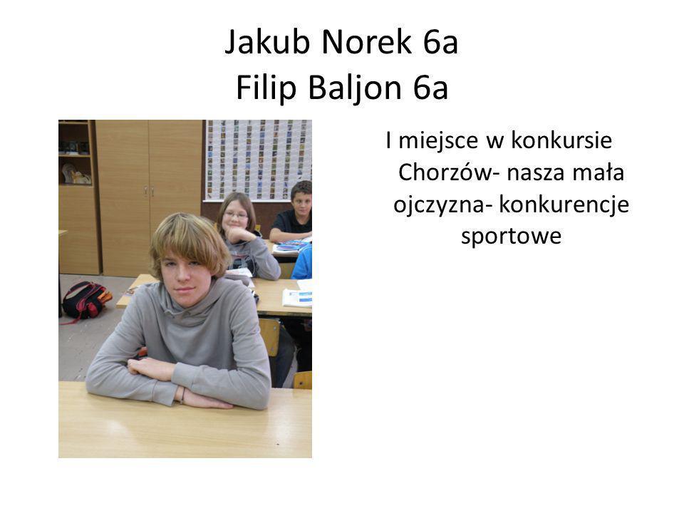 Jakub Norek 6a Filip Baljon 6a I miejsce w konkursie Chorzów- nasza mała ojczyzna- konkurencje sportowe