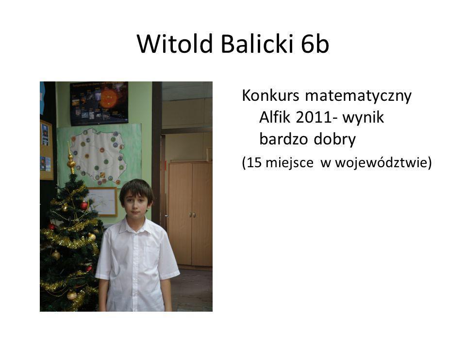 Witold Balicki 6b Konkurs matematyczny Alfik 2011- wynik bardzo dobry (15 miejsce w województwie)