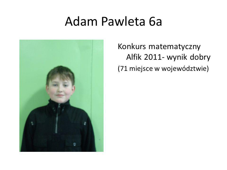 Adam Pawleta 6a Konkurs matematyczny Alfik 2011- wynik dobry (71 miejsce w województwie)