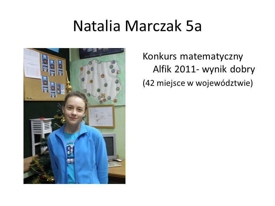 Natalia Marczak 5a Konkurs matematyczny Alfik 2011- wynik dobry (42 miejsce w województwie)