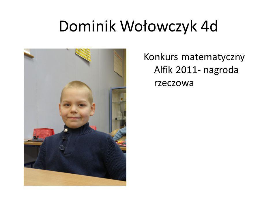Dominik Wołowczyk 4d Konkurs matematyczny Alfik 2011- nagroda rzeczowa