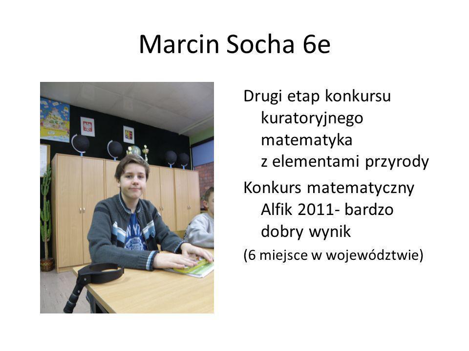 Marcin Socha 6e Drugi etap konkursu kuratoryjnego matematyka z elementami przyrody Konkurs matematyczny Alfik 2011- bardzo dobry wynik (6 miejsce w wo