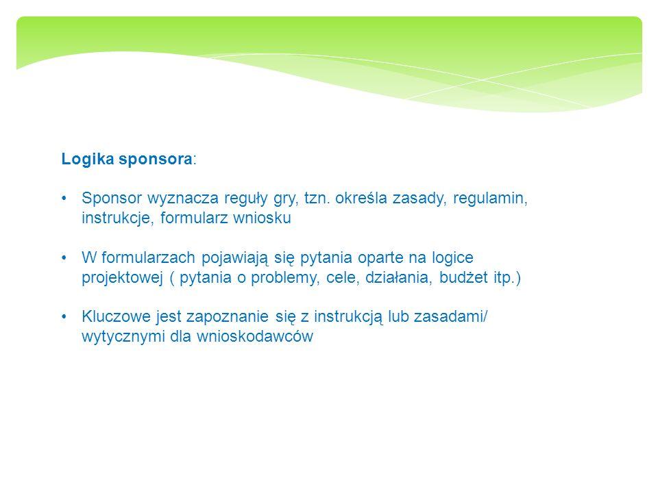 Logika sponsora: Sponsor wyznacza reguły gry, tzn. określa zasady, regulamin, instrukcje, formularz wniosku W formularzach pojawiają się pytania opart