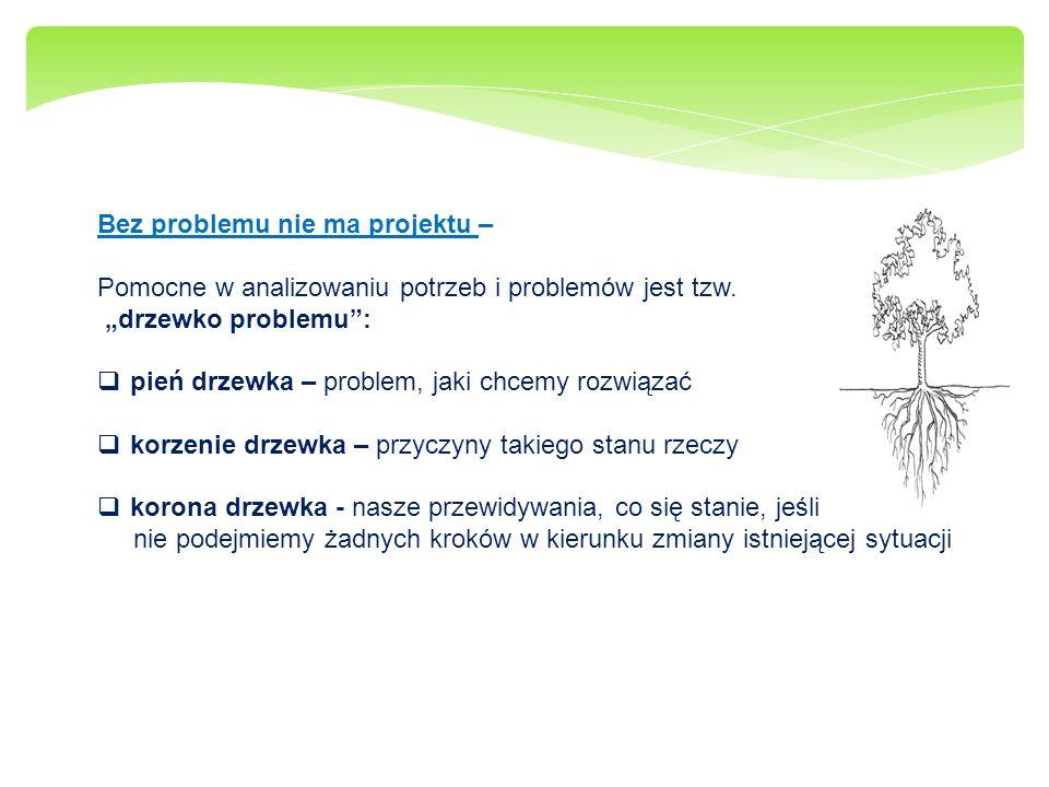 Bez problemu nie ma projektu – Pomocne w analizowaniu potrzeb i problemów jest tzw. drzewko problemu: pień drzewka – problem, jaki chcemy rozwiązać ko