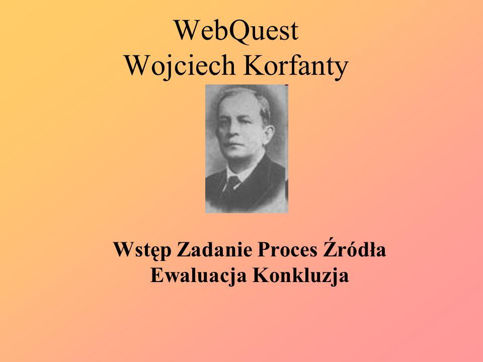 WebQuest Wojciech Korfanty Wstęp Zadanie Proces Źródła Ewaluacja Konkluzja