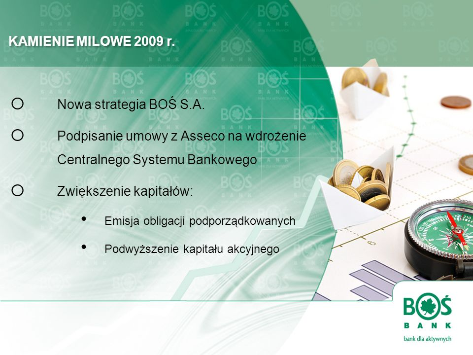 KAMIENIE MILOWE 2009 r. o Nowa strategia BOŚ S.A. o Podpisanie umowy z Asseco na wdrożenie Centralnego Systemu Bankowego o Zwiększenie kapitałów: Emis
