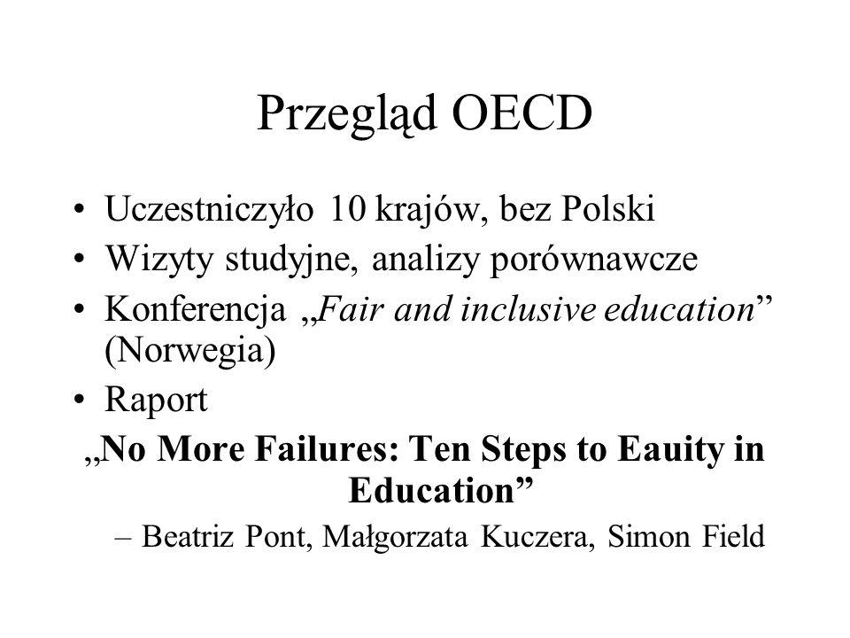 Przegląd OECD Uczestniczyło 10 krajów, bez Polski Wizyty studyjne, analizy porównawcze Konferencja Fair and inclusive education (Norwegia) Raport No M