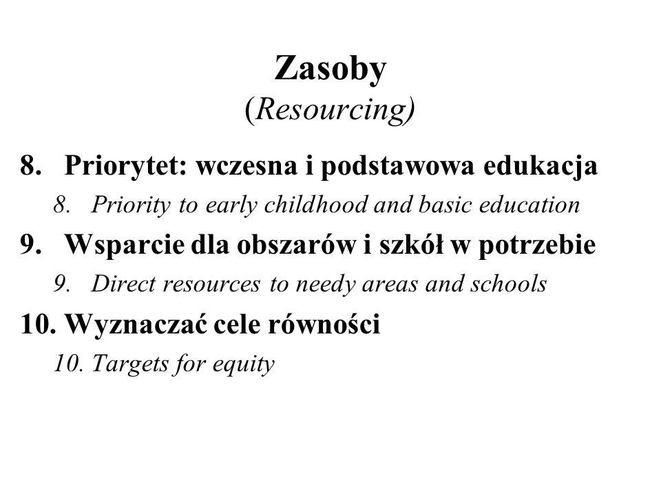 Zasoby (Resourcing) 8.Priorytet: wczesna i podstawowa edukacja 8.Priority to early childhood and basic education 9.Wsparcie dla obszarów i szkół w pot