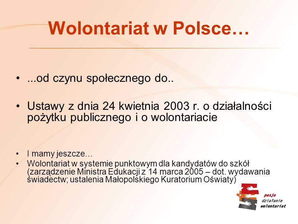 Wolontariat w Polsce…...od czynu społecznego do..Ustawy z dnia 24 kwietnia 2003 r.