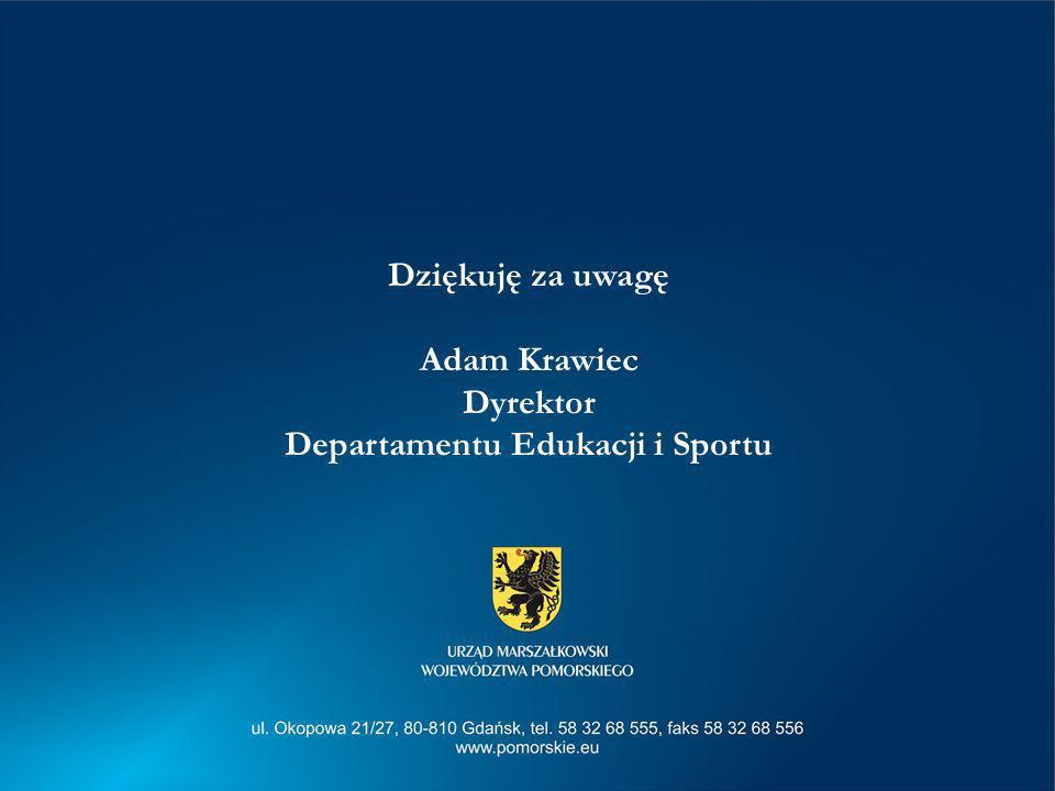 Dziękuję za uwagę Adam Krawiec Dyrektor Departamentu Edukacji i Sportu